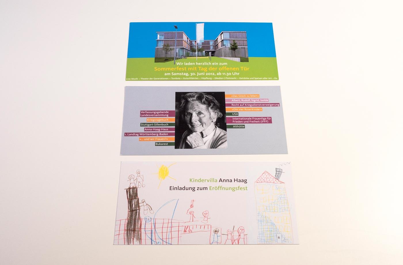 Postkarten die wir für das Anna Haag Haus gestaltet haben.