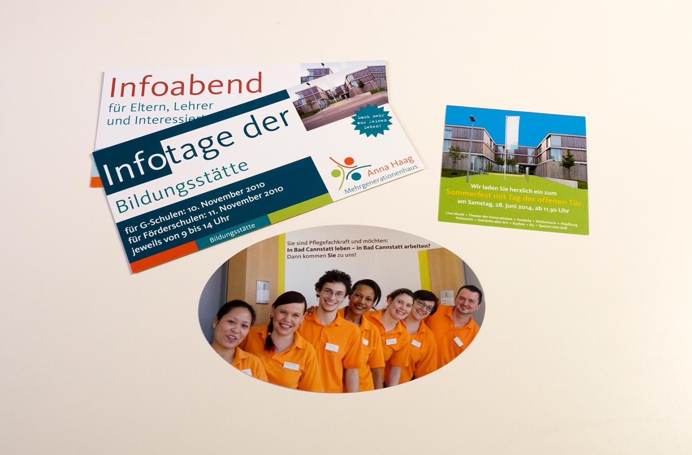 Verschiedene Flyer, die wir für das Anna Haag Haus gestaltet haben.